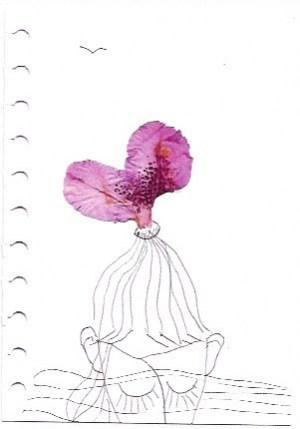 Karte Träumerin-mit-Zopfblüte