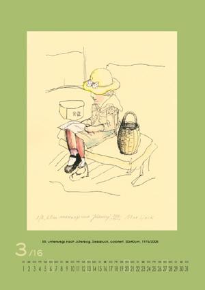 März 2016 | Elli, unterwegs nach Jüterborg. Siebdruck, coloriert, 30x40 cm, 1976/2008