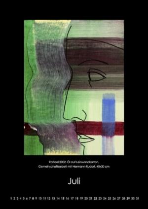 Juli 2018 | Raffael. 2002, Öl auf Leinwandkarton, Gemeinschaftsarbeit mit Hermann Rudirf, 40x30 cm