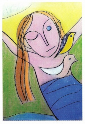Postkarte Vogelmädchen