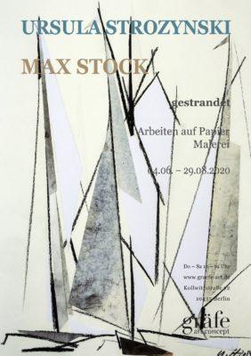 Arbeiten auf Papier und Malerei von zwei Pankower Künstlern sind in - gestrandet - in der Galerie in der Kollwitzstrasse zu sehen: Arbeiten auf Papier von Ursula Strozynski und Malerei von Max Stock.